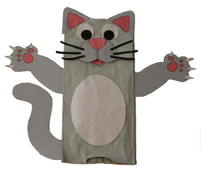 Paper bag cat puppet for Brown paper bag crafts for preschoolers