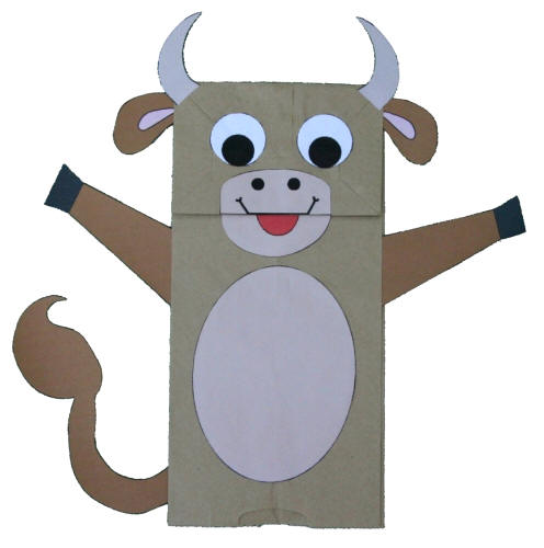 Paper bag cow puppet for Brown paper bag crafts for preschoolers