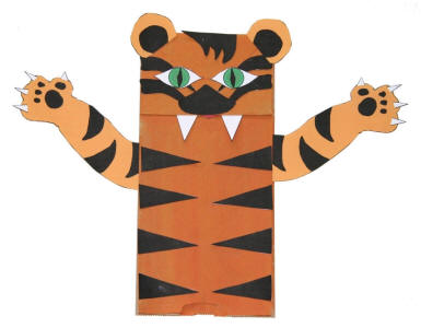 Paper bag tiger craft for Tiger puppet template