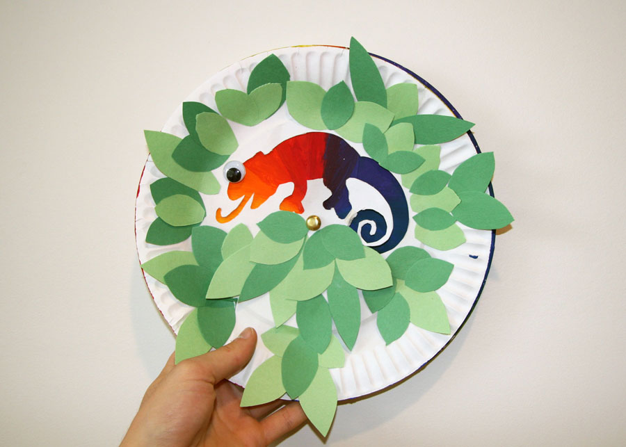 Paper Plate Colourful Chameleon Craft