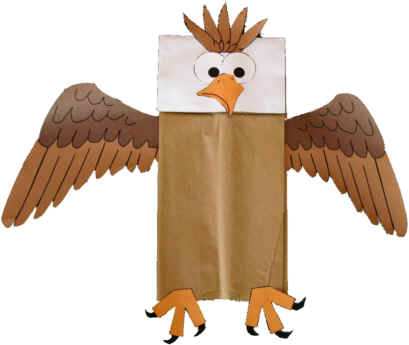 bald eagle paper bag puppet