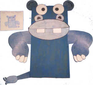 Paper bag hippo puppet