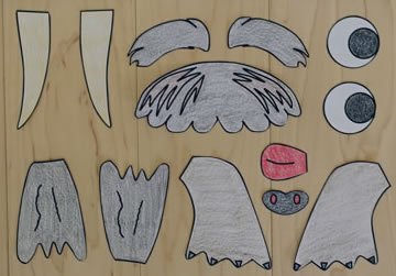 Cut out walrus template pieces
