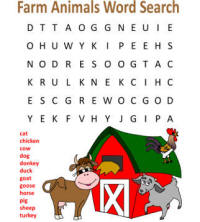 Farm Word Search Puzzles