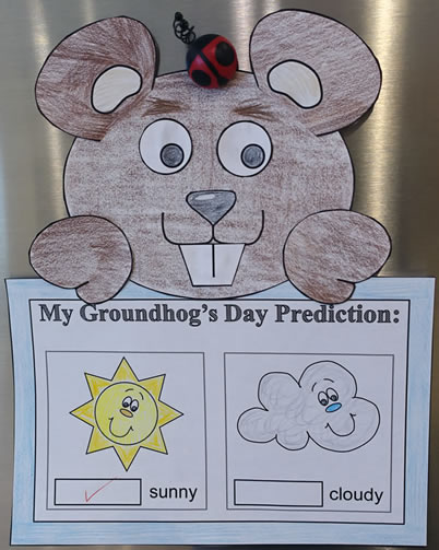 Groundhog paper craft with predictions worksheet or for Groundhog day crafts for preschoolers