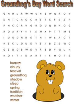 picture relating to Groundhog Day Word Search Printable known as Groundhogs Working day Term Look Puzzles
