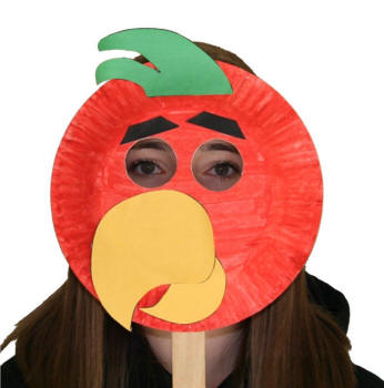 Paper Plate Parrot Mask