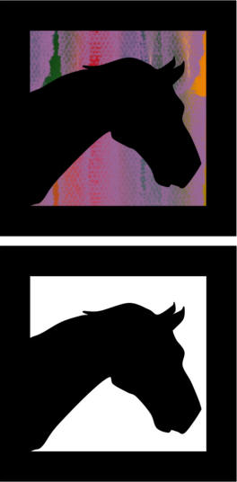horse head silhouette or stained glass paper craft