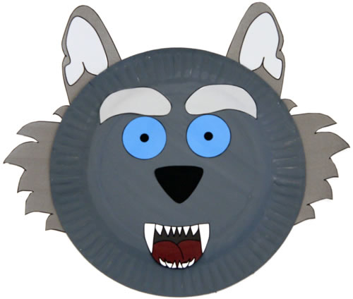 photo about Wolf Mask Printable titled Paper Plate Wolf Craft