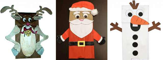 Paper Bag Puppets For Christmas