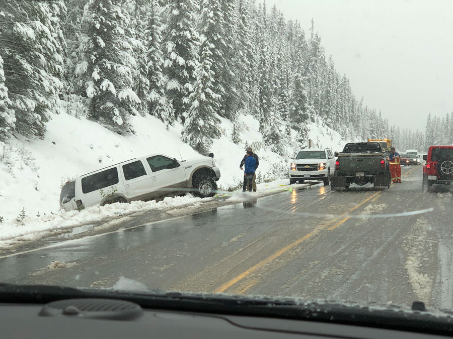 The Icefield Parkway can be treacherous on a snowy day.