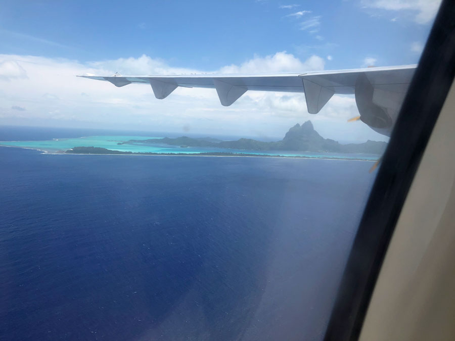 The island of Bora Bora from our Air Tahiti plane.