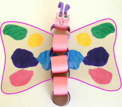 Paper chain butterfly for Dltk crafts for kids