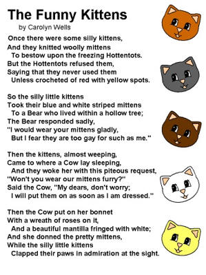 April Fools Dltkkids Poem The Funny Kittens By Carolyn Wells