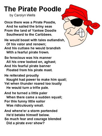 Poem The Pirate Poodle By Carolyn Wells