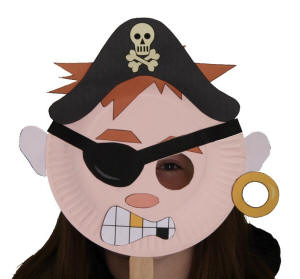 Pirate Paper Plate Mask  sc 1 st  DLTK-Kids & Paper Plate Pirate Craft