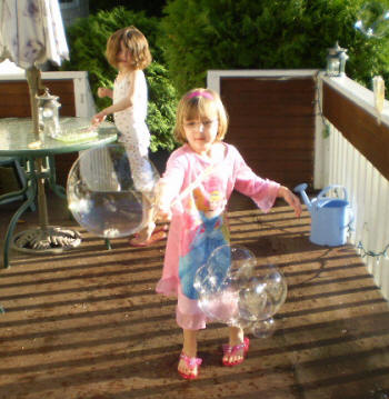 playing with homemade bubbles