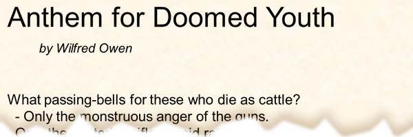 Poem Anthem For Doomed Youth By Wilfred Owen