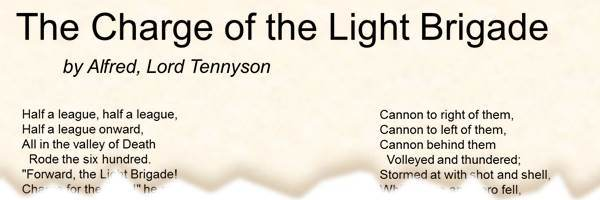 Poem The Charge Of The Light Brigade By Alfred Lord Tennyson
