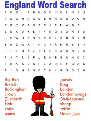 England Word Search Puzzles