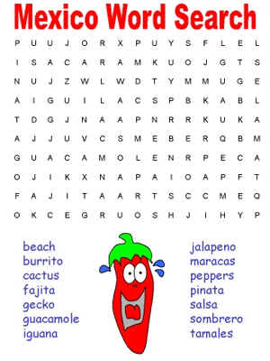 word search puzzles - learn about Mexico
