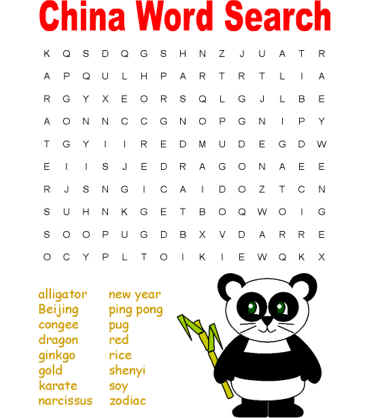 word search puzzle - learn about China