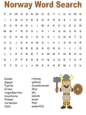 Norway Word Search Puzzles