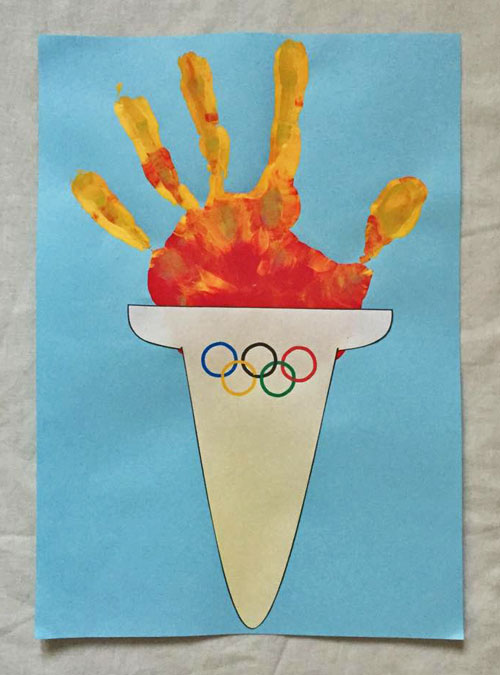 Olympic Torch Handprint Craft