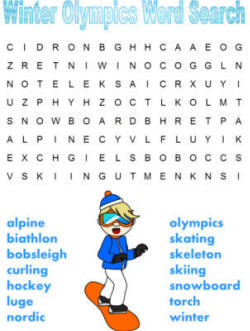 Winter Olympics Word Search Puzzles