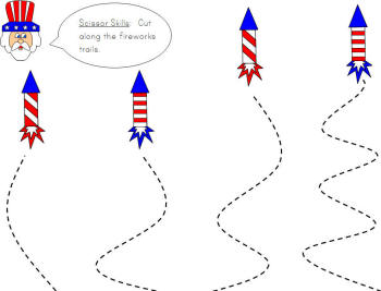 Printable Fourth of July Scissor