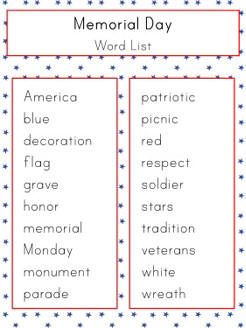 Worksheets Vocabulary Words For Kids memorial day word list dltks crafts for kids vocabulary lists