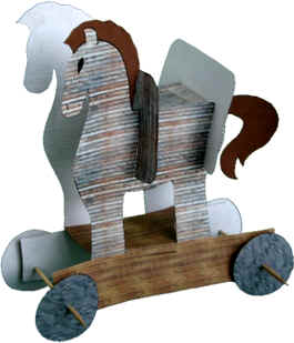 Trojan horse paper craft for Horse crafts for kids