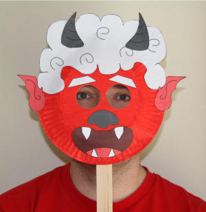 Paper Plate Red Oni Mask & Red Oni Paper Plate Craft or Mask